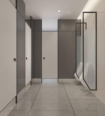 现代, 卫生间, 公共卫生间, 洗手台, 洗手池, 镜子, 便器