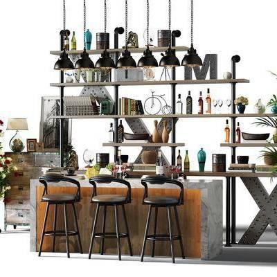 工业风吧台吧椅酒柜组合, 工业风, 吧台, 椅子, 酒架, 植物