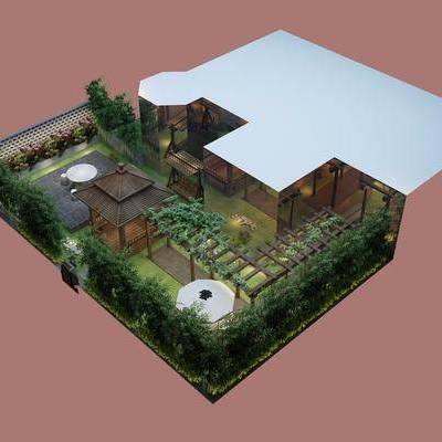 户外花园, 绿植, 现代, 双十一