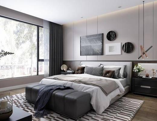 双人床, 装饰画, 吊灯, 床头柜, 地毯, 床尾踏