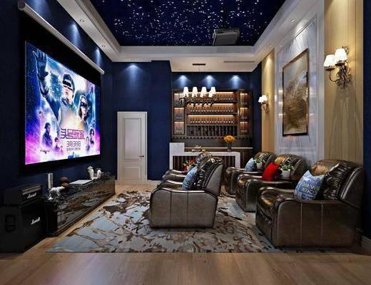 影音室, 单人沙发, 装饰画, 挂画, 壁灯, 边柜, 电视柜, 电视, 装饰架, 摆件, 装饰品, 陈设品, 欧式