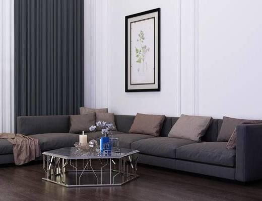 多人沙发, 茶几, 转角沙发, 装饰画, 挂画, 摆件, 装饰品, 陈设品, 北欧