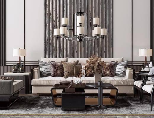 吊灯, 休闲单人椅子, 边几, 抱枕, 茶几, 台灯