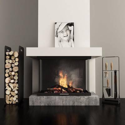 壁炉, 摆件组合, 现代壁炉