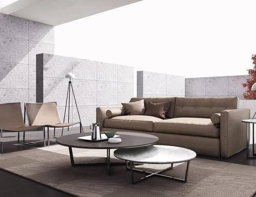 沙发组合, 茶几, 树木, 单椅, 抱枕, 落地灯, 摆件组合