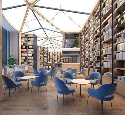 书架, 书籍, 桌椅组合