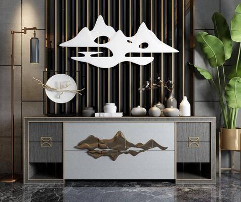 玄关柜, 边柜, 盆栽, 绿植植物, 墙饰, 落地灯, 摆件, 装饰品, 陈设品, 新中式