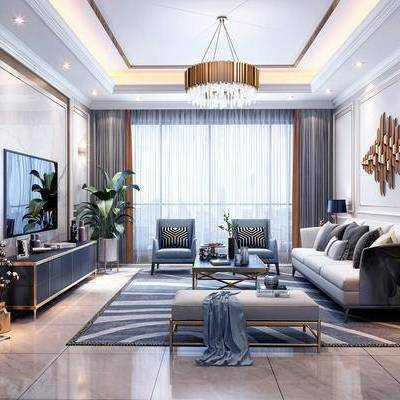 客厅, 多人沙发, 单人沙发, 躺椅, 茶几, 摆件, 装饰品, 边几, 陈设品, 墙饰, 吊灯, 装饰柜, 边柜, 装饰画, 挂画, 简欧