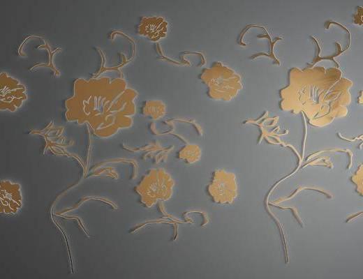 金屬花瓣, 植物墻飾, 掛件組合, 現代