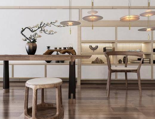 中式桌椅组合, 桌椅组合, 带动鞥, 盆栽, 茶具, 置物柜, 摆件