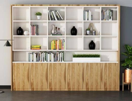 书柜, 书籍, 书本, 摆件, 落地灯, 植物, 装饰品, 瓷器, 盆栽, 现代