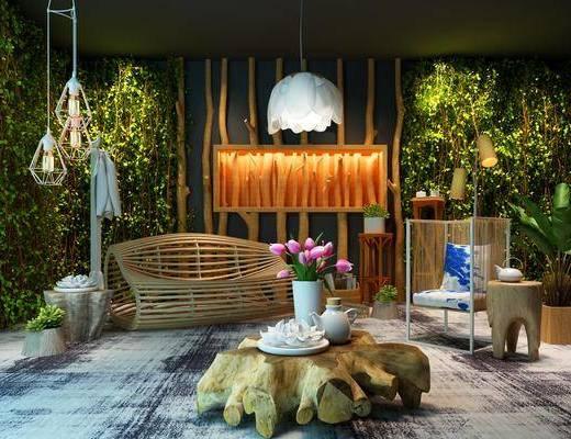 户外椅, 绿植, 单人椅, 茶几, 吊灯, 植物墙, 摆件, 装饰品, 陈设品, 现代