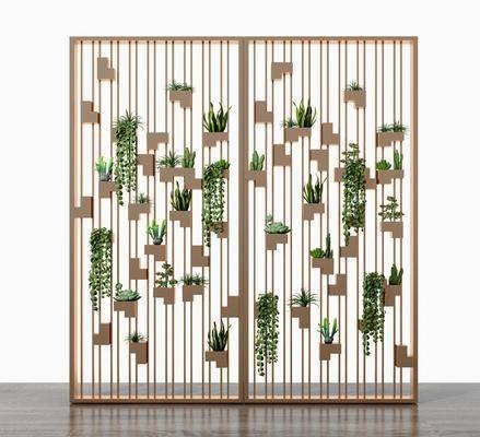 屏風隔斷, 綠植多肉, 花格屏風, 現代