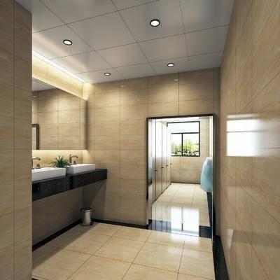 卫生间, 现代卫生间, 公共卫生间, 洗手台, 男厕所, 现代