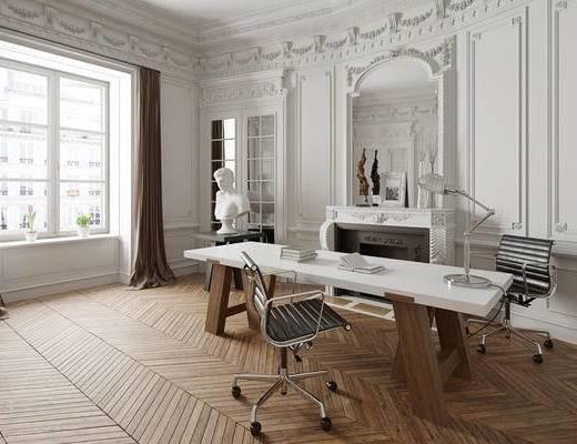 办公室, 办公桌, 窗帘, 装饰品, 壁炉