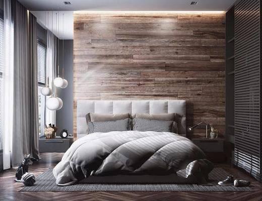 双人床, 衣柜, 窗帘, 装饰品, 摆件, 吊灯