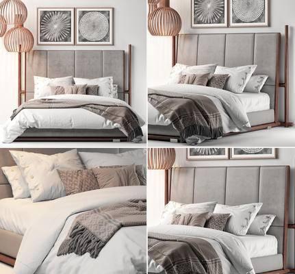 双人床, 吊灯, 挂画, 北欧, 床具组合, 现代, 床