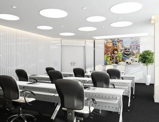 会议室, 桌椅组合, 盆栽绿植