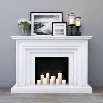 壁炉, 烛台, 装饰画, 花瓶, 摆件组合