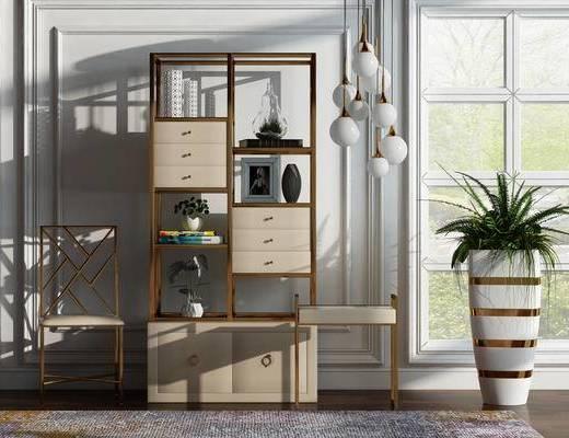 装饰架, 椅子, 盆栽, 后现代, 现代, 置物架, 陈设品, 摆件, 吊灯, 单椅