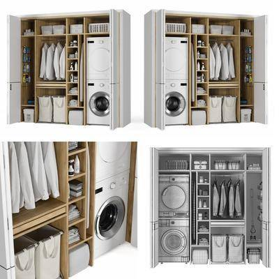 洗衣机, 烘干机, 服饰, 洗涤剂, 毛巾生活用品, 储物室柜, 现代