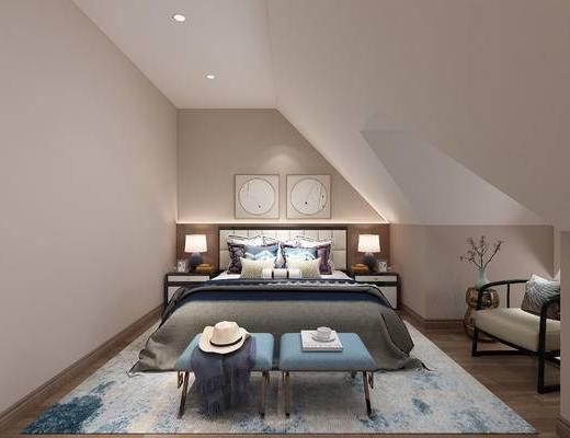 异形吊顶, 双人床, 沙发脚踏, 地毯, 床头柜, 台灯
