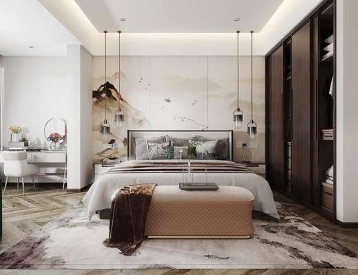 新中式卧室, 双人床, 吊灯, 衣柜, 梳妆台