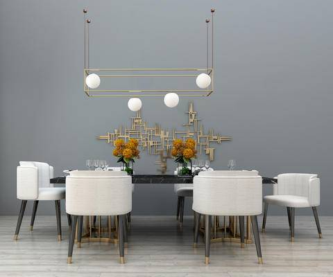 现代, 餐桌椅, 摆件, 餐具, 灯具
