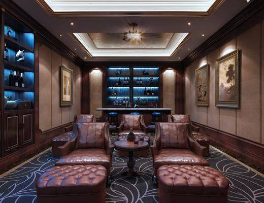 影音室, 单人沙发, 凳子, 边几, 装饰画, 挂画, 装饰柜, 装饰品, 陈设品, 吧台, 吧椅, 新古典