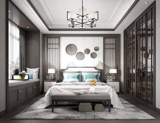 双人床, 窗帘, 台灯, 挂画, 装饰品