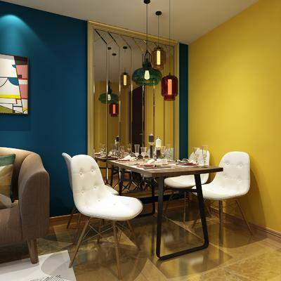 现代餐厅, 餐厅, 餐桌椅, 桌椅组合