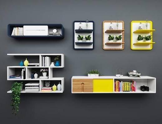 北欧, 置物架, 装饰架, 置物柜, 装饰柜, 书籍, 摆件