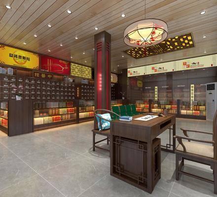中式, 药店, 展柜, 椅子, 桌子, 吸顶灯