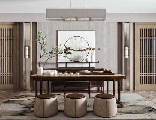 新中式茶室, 茶室, 茶桌椅组合, 桌椅组合