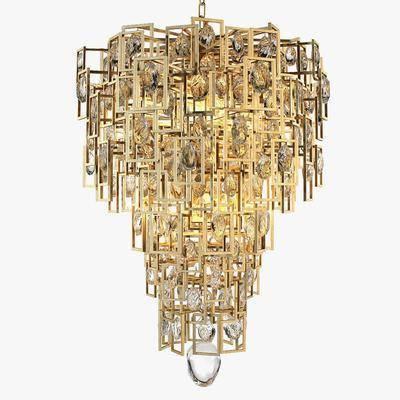 金属吊灯, 水晶吊灯, 金属水晶吊灯, 吊灯, 现代