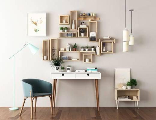 书桌, 单人沙发, 装饰架, 吊灯, 装饰画, 落地灯, 摆件, 北欧