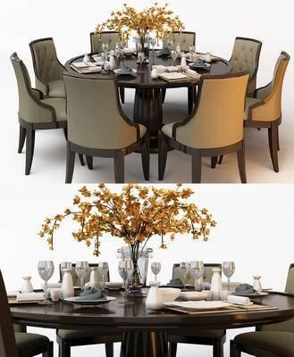 美式, 餐桌椅, 花瓶, 餐具