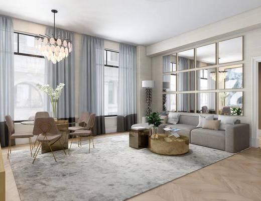 现代简约, 客厅, 沙发茶几组合, 吊灯, 植物盆栽, 桌椅组合
