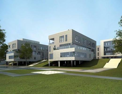 办公楼, 公共建筑, 门面门头, 树木, 绿植植物, 草地, 现代