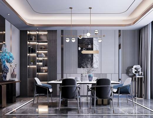 餐廳, 桌椅組合, 吊燈, 置物柜, 裝飾畫, 擺件