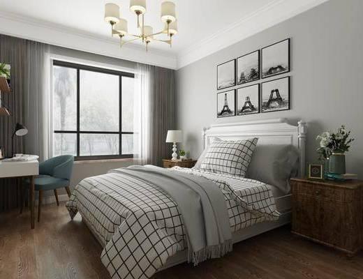 卧室, 北欧卧室, 床具组合, 单椅, 书桌, 挂画, 北欧