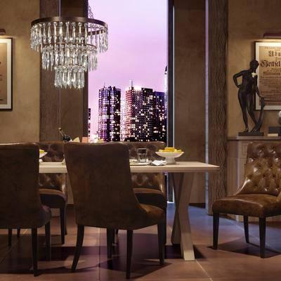 餐厅, 餐桌, 餐椅, 水晶吊灯, 单人椅, 边柜, 摆件, 装饰画, 美式