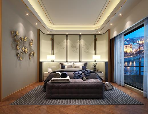卧室, 现代卧室, 床尾凳, 墙饰, 吊灯, 床头柜