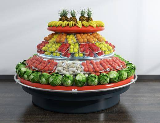 超市水果, 蔬菜货架, 食物架, 现代