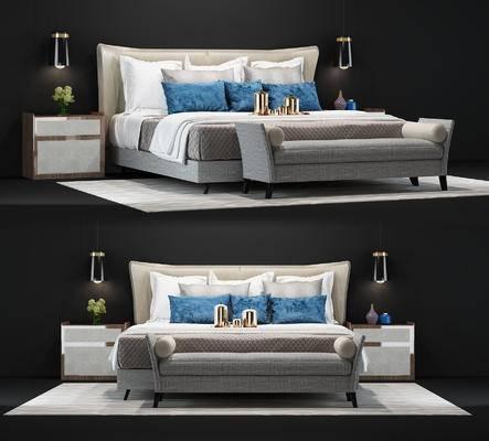 现代, 床具, 双人床, 台灯, 床头柜, 摆件, 尾榻