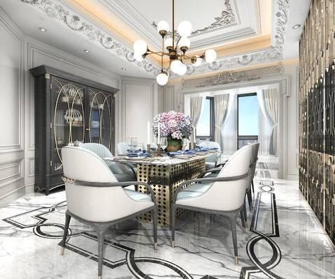 欧式, 餐厅, 欧式餐厅, 餐桌椅, 餐桌, 椅子, 吊灯, 酒柜