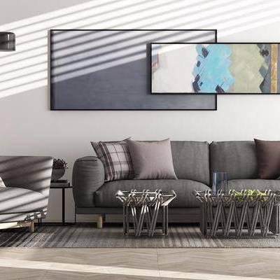 現代沙發茶幾組合, 現代, 沙發組合, 布藝沙發, 椅子, 落地燈, 裝飾畫, 茶幾