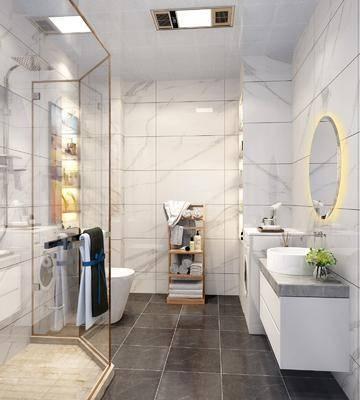 卫生间, 北欧卫生间, 现代卫生间, 洗手台, 淋浴间