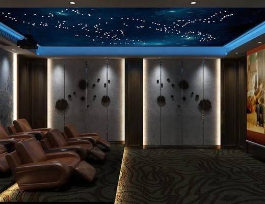 影音室, 单人沙发, 墙饰, 屏幕, 新中式