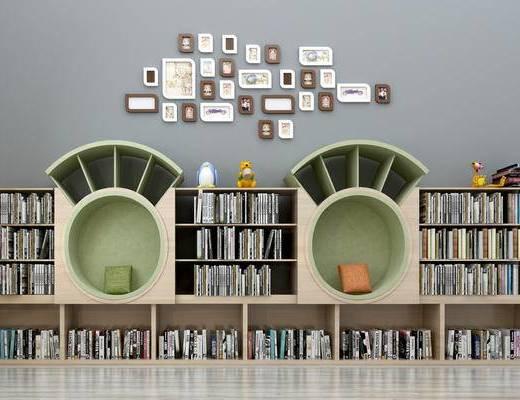 书柜, 儿童书柜, 现代, 墙饰, 书籍, 书, 置物柜, 装饰柜